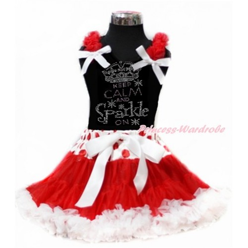 Black Tank Top with Red Ruffles & White Bow with Sparkle Crystal Bling Rhinestone Keep Calm And Sparkle On Print & Red White Dots Waist Red White Pettiskirt MG947