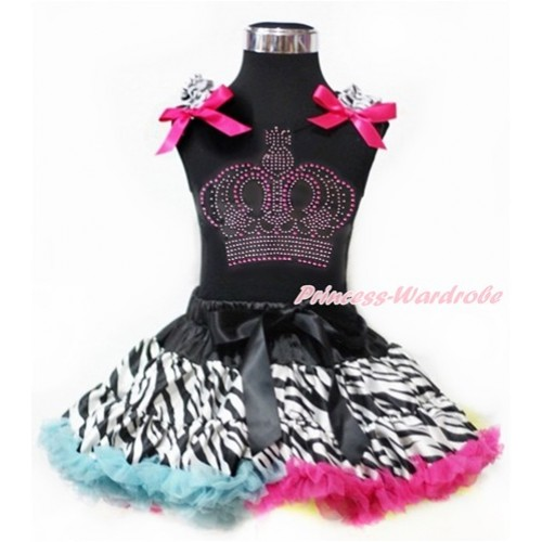 Black Tank Top with Zebra Ruffles & Hot Pink Bows with Sparkle Crystal Bling Rhinestone Crown Print With Rainbow Zebra Pettiskirt MG967