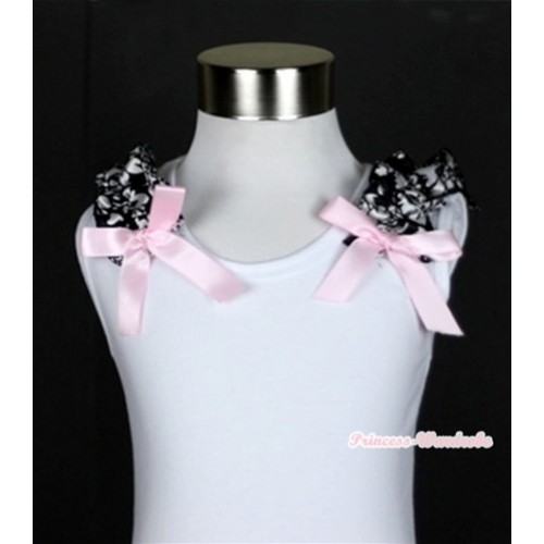 White Tank Top with Damask Ruffles and Light Pink Bow T480