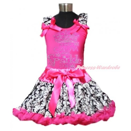 Hot Pink Tank Top with Damask Ruffles and Hot Pink Bows & Sparkle Crystal Bling Rhinestone Keep Calm And Sparkle On Print & Hot Pink Damask Pettiskirt MH150