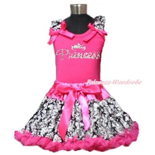 Hot Pink Tank Top with Damask Ruffles and Hot Pink Bows & Sparkle Crystal Bling Rhinestone Princess Print & Hot Pink Damask Pettiskirt MH151