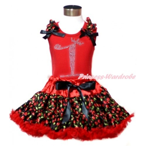 Red Tank Top with Black Cherry Ruffles & Black Bows & 1st Sparkle Crystal Bling Rhinestone Birthday Number Print with Hot Red Black Cherry Pettiskirt CM180