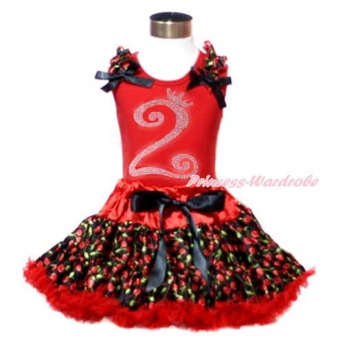 Red Tank Top with Black Cherry Ruffles & Black Bows & 2nd Sparkle Crystal Bling Rhinestone Birthday Number Print with Hot Red Black Cherry Pettiskirt CM181