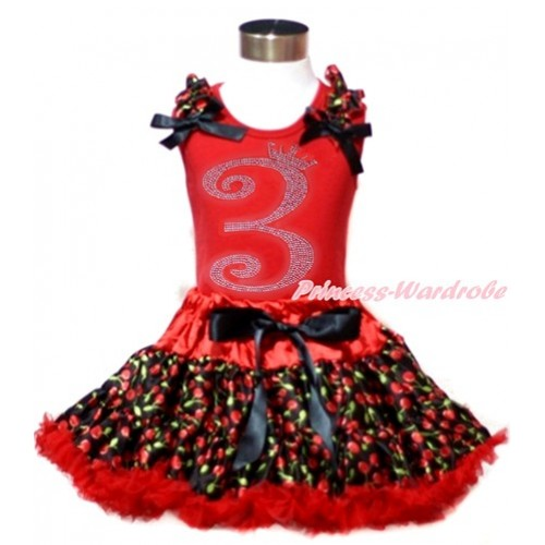 Red Tank Top with Black Cherry Ruffles & Black Bows & 3rd Sparkle Crystal Bling Rhinestone Birthday Number Print with Hot Red Black Cherry Pettiskirt CM182