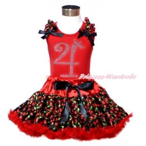 Red Tank Top with Black Cherry Ruffles & Black Bows & 4th Sparkle Crystal Bling Rhinestone Birthday Number Print with Hot Red Black Cherry Pettiskirt CM183