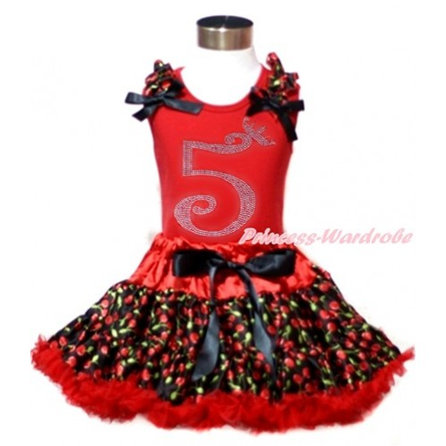 Red Tank Top with Black Cherry Ruffles & Black Bows & 5th Sparkle Crystal Bling Rhinestone Birthday Number Print with Hot Red Black Cherry Pettiskirt CM184