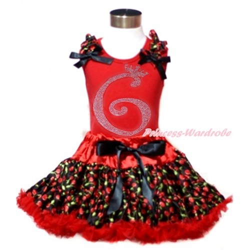 Red Tank Top with Black Cherry Ruffles & Black Bows & 6th Sparkle Crystal Bling Rhinestone Birthday Number Print with Hot Red Black Cherry Pettiskirt CM185