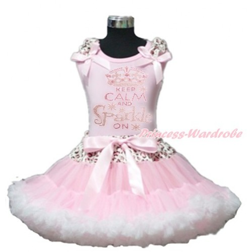 Light Pink Tank Top with Light Pink Leopard Ruffles & Light Pink Bow with Sparkle Crystal Bling Rhinestone Keep Calm And Sparkle On Print & Light Pink Leopard Waist Light Pink White Pettiskirt M557