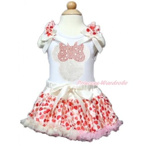 Valentine's Day White Baby Pettitop with Cream White Heart Ruffles & Cream White Bows with Sparkle Crystal Bling Rhinestone Red Minnie Print with Cream White Heart Newborn Pettiskirt NN123