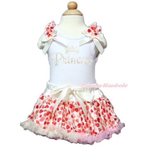 Valentine's Day White Baby Pettitop with Cream White Heart Ruffles & Cream White Bows with Sparkle Crystal Bling Rhinestone Princess Print with Cream White Heart Newborn Pettiskirt NN124