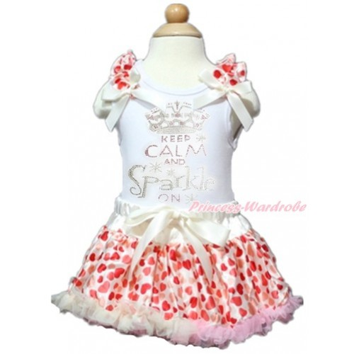 Valentine's Day White Baby Pettitop with Cream White Heart Ruffles & Cream White Bows with Sparkle Crystal Bling Rhinestone Keep Calm And Sparkle On Print with Cream White Heart Newborn Pettiskirt NN127