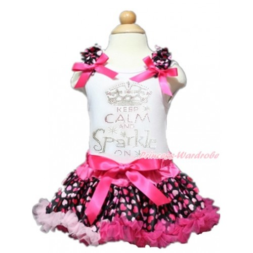 Valentine's Day White Baby Pettitop with Hot Light Pink Heart Ruffles & Hot Pink Bows with Sparkle Crystal Bling Rhinestone Keep Calm And Sparkle On Print with Hot Light Pink Heart Newborn Pettiskirt NN128