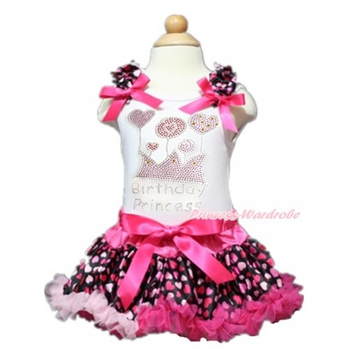 Valentine's Day White Baby Pettitop with Hot Light Pink Heart Ruffles & Hot Pink Bows with Sparkle Crystal Bling Rhinestone Birthday Princess Print with Hot Light Pink Heart Newborn Pettiskirt NN131