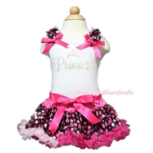 Valentine's Day White Baby Pettitop with Hot Light Pink Heart Ruffles & Hot Pink Bows with Sparkle Crystal Bling Rhinestone Princess Print with Hot Light Pink Heart Newborn Pettiskirt NN132