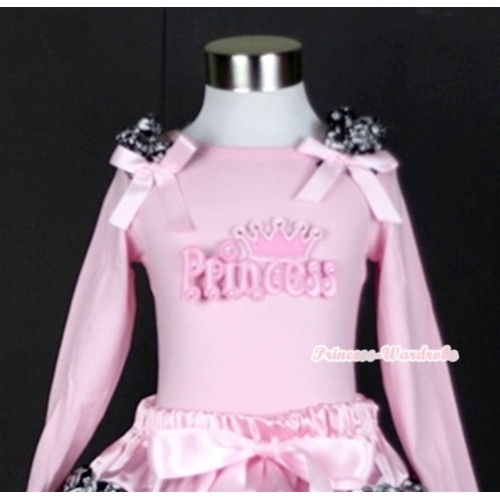Light Pink Long Sleeves Top with Princess Print With Damask Ruffles & Light Pink Bow TW319