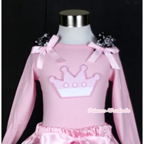 Light Pink Long Sleeves Top with Crown Print With Damask Ruffles & Light Pink Bow TW320