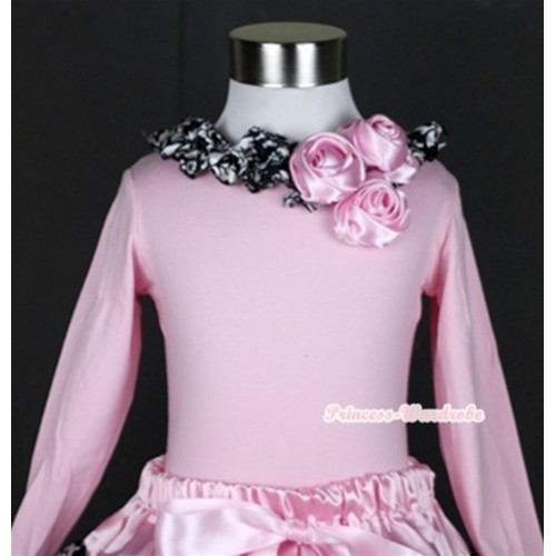 Light Pink Long Sleeves Top with Bunch Of Light Pink Satin Rosettes & Damask Satin Lacing TW326