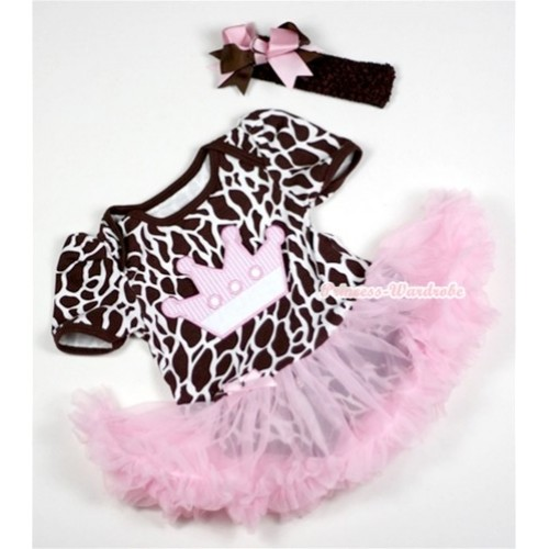 Giraffe Baby Jumpsuit Light Pink Pettiskirt With Crown Print With Brown Headband Brown Light Pink Ribbon Bow JS150