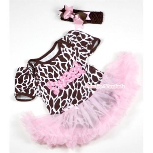 Giraffe Baby Jumpsuit Light Pink Pettiskirt With Sweet Print With Brown Headband Brown Light Pink Ribbon Bow JS152