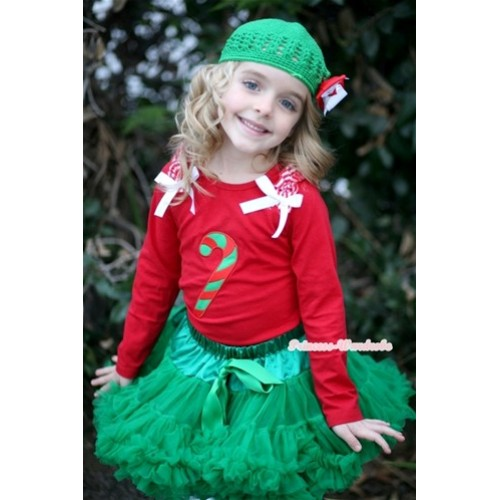 Kelly Green Pettiskirt with Christmas Stick Print Red Long Sleeves Top with Red White Striped Ruffles and White Bow MB25