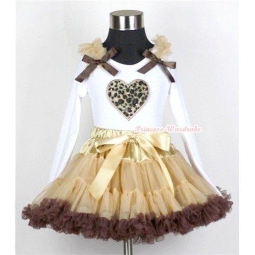 Light Dark Brown Pettiskirt with Leopard Heart Print White Long Sleeves Top with Light Brown Ruffles and Dark Brown Bow MW113