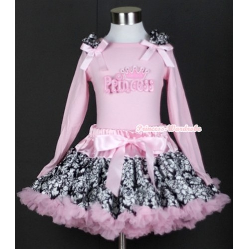 Light Pink Damask Pettiskirt with Princess Print Light Pink Long Sleeves Top with Damask Ruffles and Light Pink Bow MW119