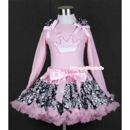 Light Pink Damask Pettiskirt with Crown Print Light Pink Long Sleeves Top with Damask Ruffles and Light Pink Bow MW120