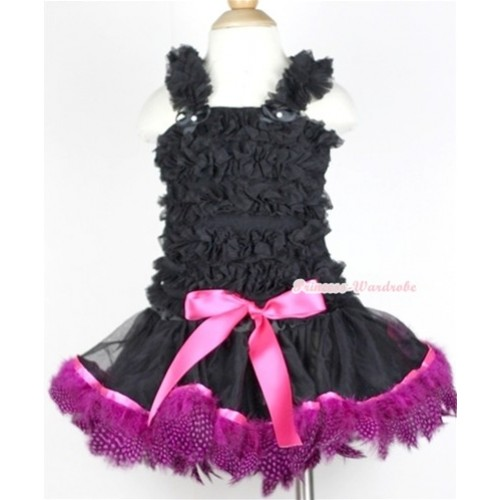 Black Baby Ruffles Tank Top with Black Mix Hot Pink Feather Baby Pettiskirt NR43