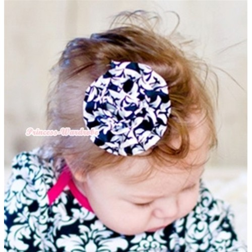 Damask Print Rosettes Hair Pin H511