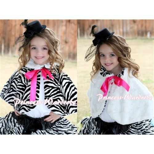 Black White Zebra Reversible Shawl Coat with Hot Pink Ribbon