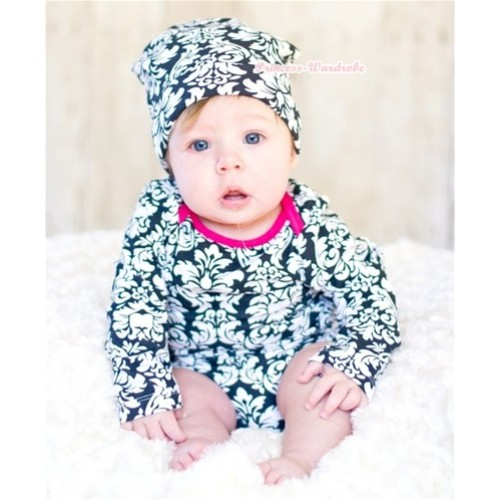 Plain Style Hot Pink Damask Long Sleeve Baby Jumpsuit with Cap Set LH155