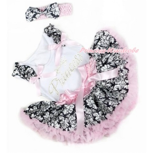 White Baby Pettitop with Damask Ruffles & Light Pink Bows with Sparkle Crystal Bling Rhinestone Princess Print & Light Pink Damask Newborn Pettiskirt With Light Pink Headband Damask Satin Bow NG1353