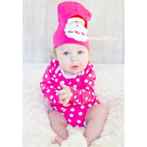 Hot Pink White Polka Dots Long Sleeve Baby Jumpsuit with Santa Claus Print Hot Pink Cap Set LH277