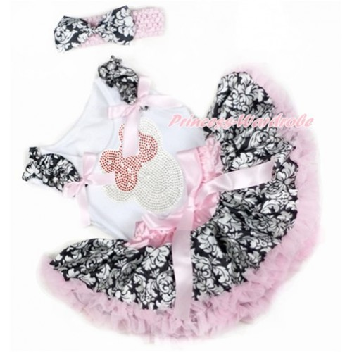 White Baby Pettitop with Damask Ruffles & Light Pink Bows with Sparkle Crystal Bling Rhinestone Red Minnie Print & Light Pink Damask Newborn Pettiskirt With Light Pink Headband Damask Satin Bow NG1355