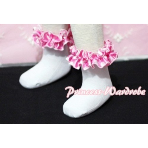 Plain Style Pure White Socks with Hot Pink Polka Dots Ruffles H203