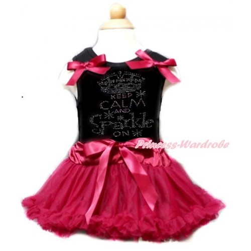 Black Baby Pettitop & Raspberry Wine Red Bows & Sparkle Crystal Bling Rhinestone Keep Calm And Sparkle On Print With Raspberry Wine Red Baby Pettiskirt NG1357