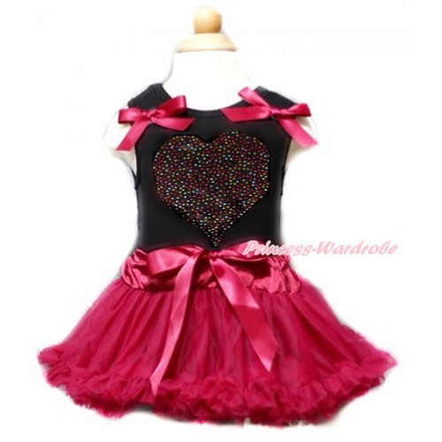 Valentine's Day Black Baby Pettitop & Raspberry Wine Red Bows & Sparkle Crystal Bling Rhinestone Rainbow Heart Print With Raspberry Wine Red Baby Pettiskirt NG1358