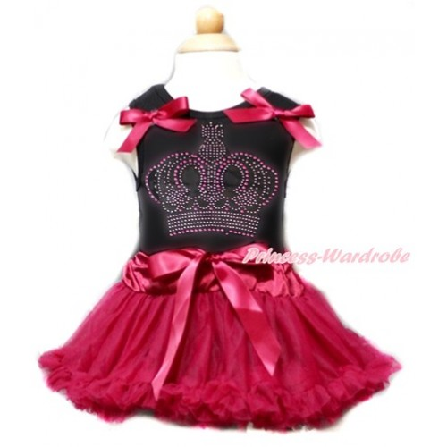 Valentine's Day Black Baby Pettitop & Raspberry Wine Red Bows & Sparkle Crystal Bling Rhinestone Crown Print With Raspberry Wine Red Baby Pettiskirt NG1359