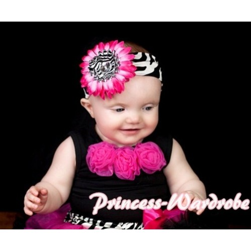Black Baby Pettitop & Hot Pink Rosettes NT20
