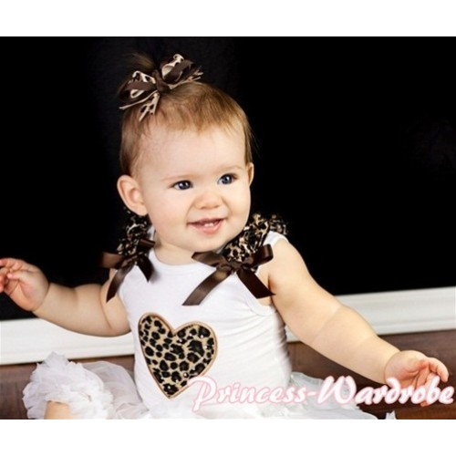 Leopard Heart White Tank Top with Leopard Ruffles and Brown Bows TB122