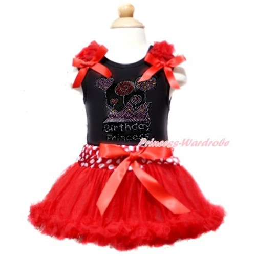 Black Baby Pettitop with Red Ruffles & Red Bow with Sparkle Crystal Bling Rhinestone Birthday Princess Print with Minnie Dots Waist Red Newborn Pettiskirt NG1364