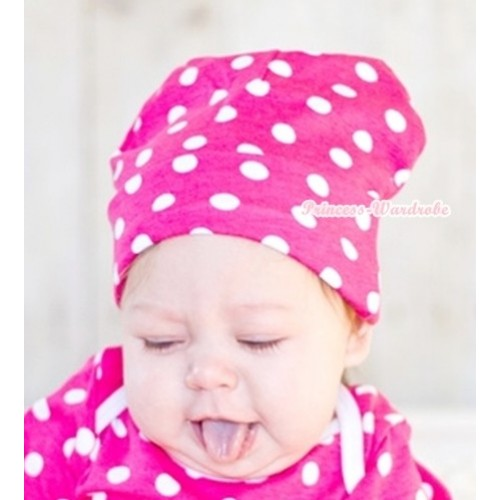 Hot Pink White Polka Dots Cotton Cap TH283
