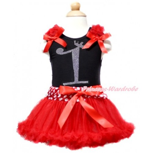 Black Baby Pettitop with Red Ruffles & Red Bow with 1st Sparkle Crystal Bling Rhinestone Birthday Number Print with Minnie Dots Waist Red Newborn Pettiskirt NG1365
