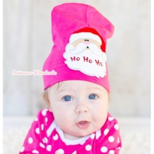 Hot Pink Cotton Cap with Santa Claus Print TH282
