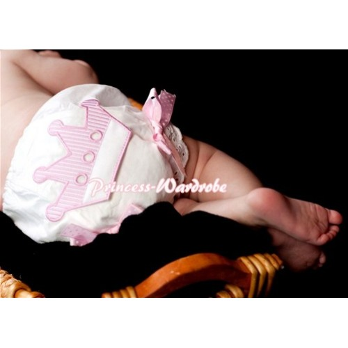 Sweet Crown Print White Panties Bloomers with Light Pink White Polka Dots Bows LD78