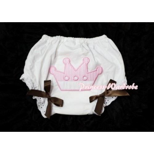 Sweet Crown Print White Panties Bloomers with Brown Bows LD37