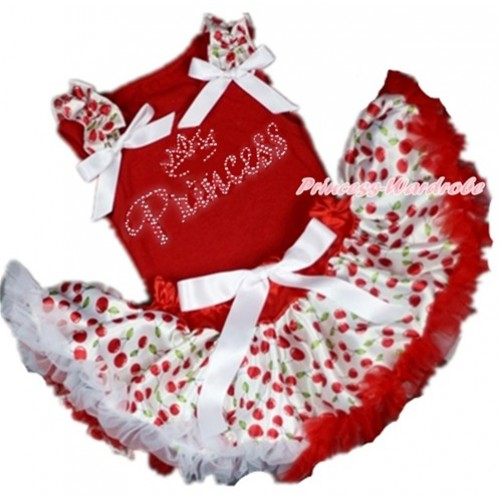 Red Baby Pettitop with White Cherry Ruffles & White Bow with Sparkle Crystal Bling Rhinestone Princess Print with Red White Cherry Newborn Pettiskirt NG1369