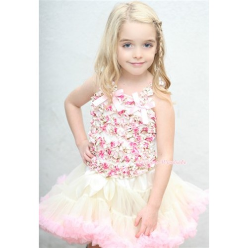 Cream White Light Pink Pettiskirt with Light Pink Bow Rose Fusion Ruffles Tank Top MR213