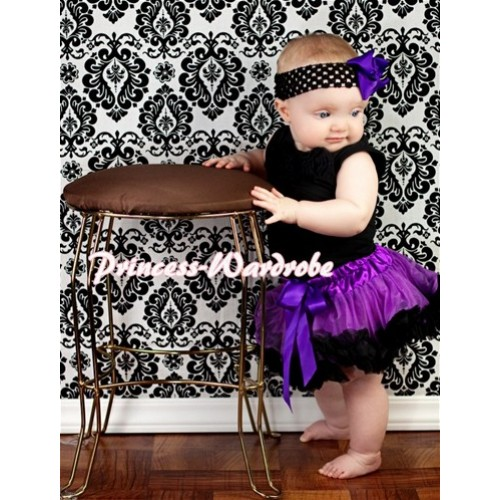 Black Newborn Pettitop & Black Rosettes with Black Dark Purple Newborn Pettiskirt NG200