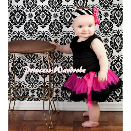 Black Newborn Pettitop & Black Rosettes with Zebra Hot Pink Black Newborn Pettiskirt NG210